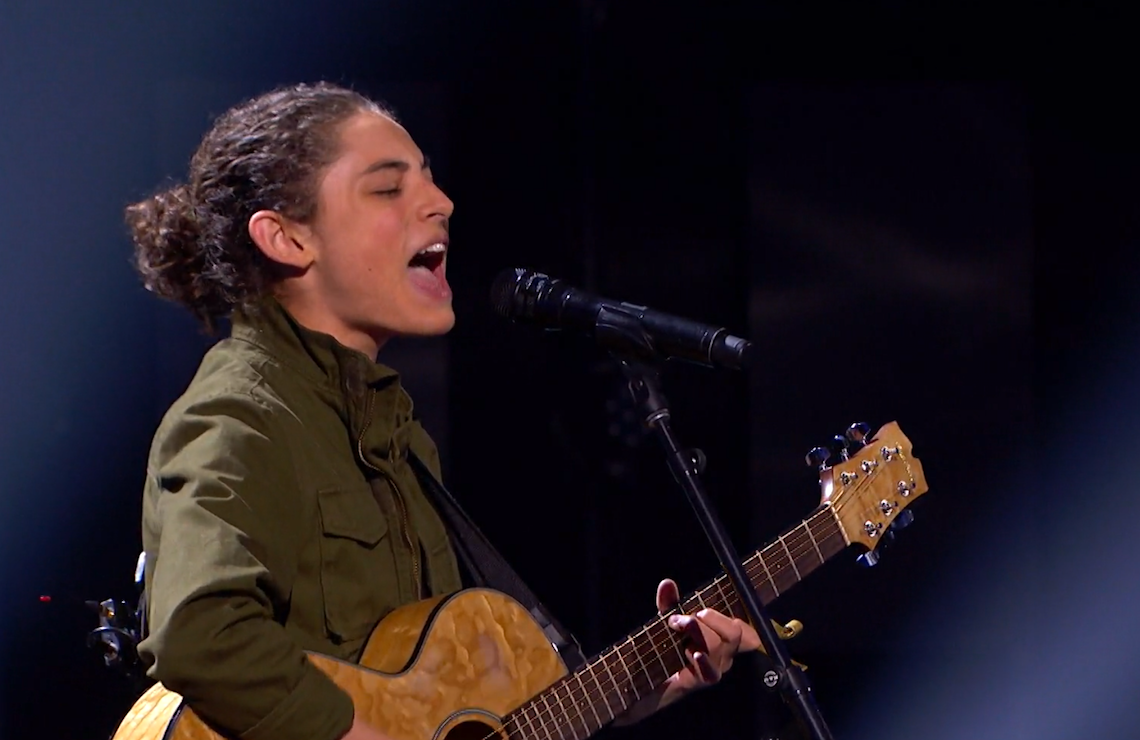 Benicio Bryant in the performance that earned him a spot on the quarterfinals on tonight's America's Got Talent (NBC)