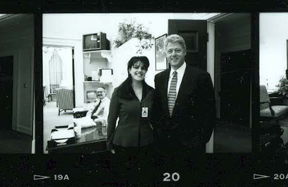 Monica Lewinsky and Bill Clinton photographed together in 1995 (White House Photo Office)