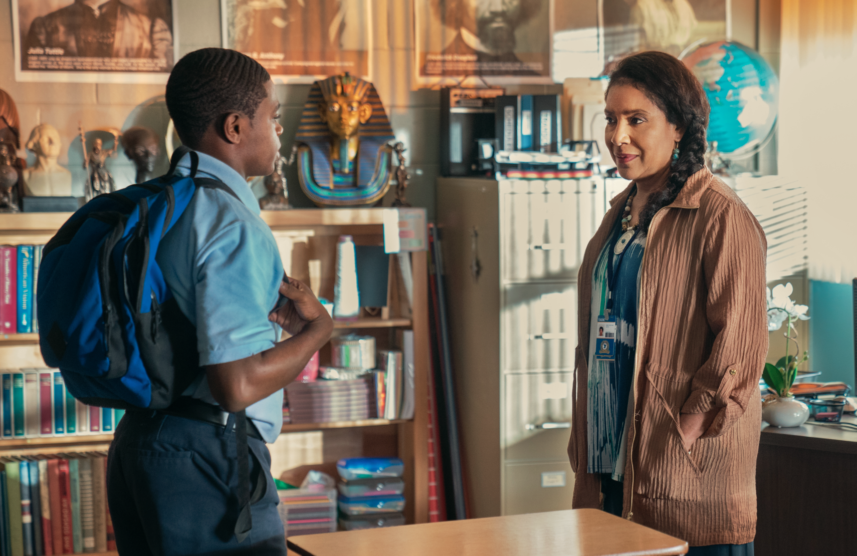 Phylicia Rashad plays David's caring instructor in the gifted class at school in David Makes Man.
