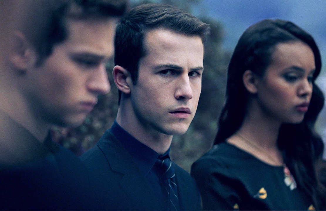 Justin Prentice, Dylan Minnette, and Alisha Boe in a scene from the third season of 13 Reasons Why (Netflix)