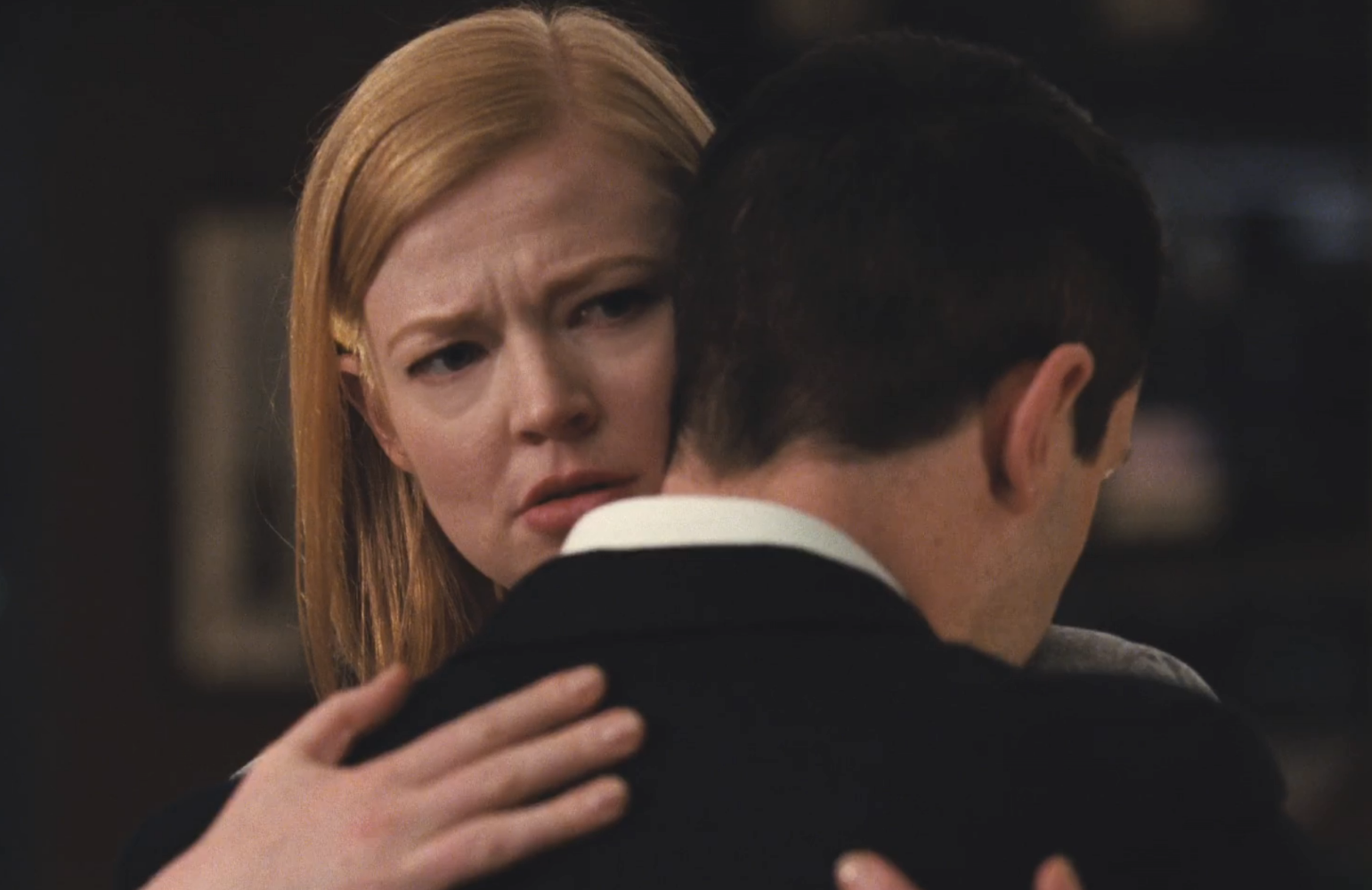 Shiv (Sarah Snook) and Kendall (Jeremy Strong) share a tender moment in Sunday's episode of Succession. (Photo: HBO)