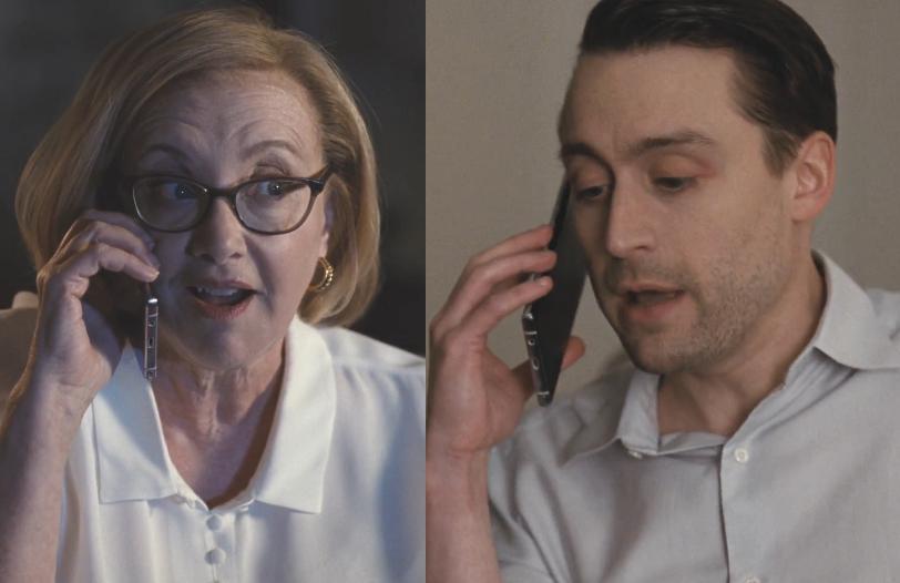 Um, yikes. Gerri (J. Smith-Cameron) and Roman (Kieran Culkin) in Sunday's episode of Succession. (Photo: HBO)