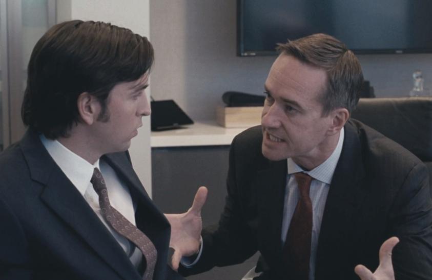 Greg (Nicolas Braun) and Tom (Matthew Macfadyen) in Succession. (HBO)