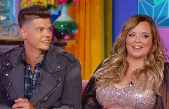 Tyler Baltierra and Catelynn Lowell at this week's Teen Mom reunion special (MTV)