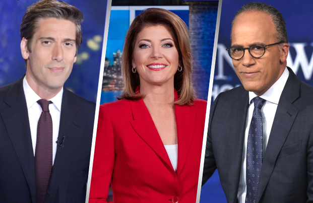 David Muir, Norah O'Donnell and Lester Holt helm the (once) big three network newscasts.
