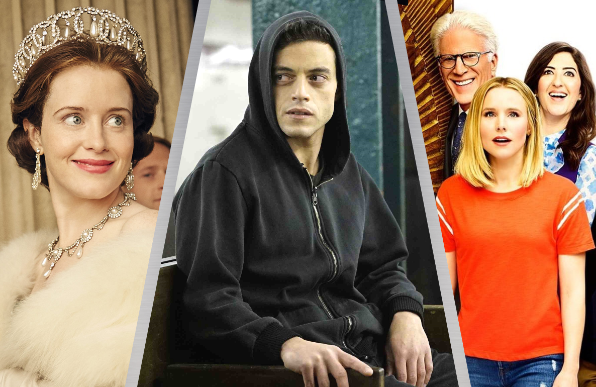 The Crown, Mr. Robot and The Good Place (Photos: Netflix, USA and NBC)