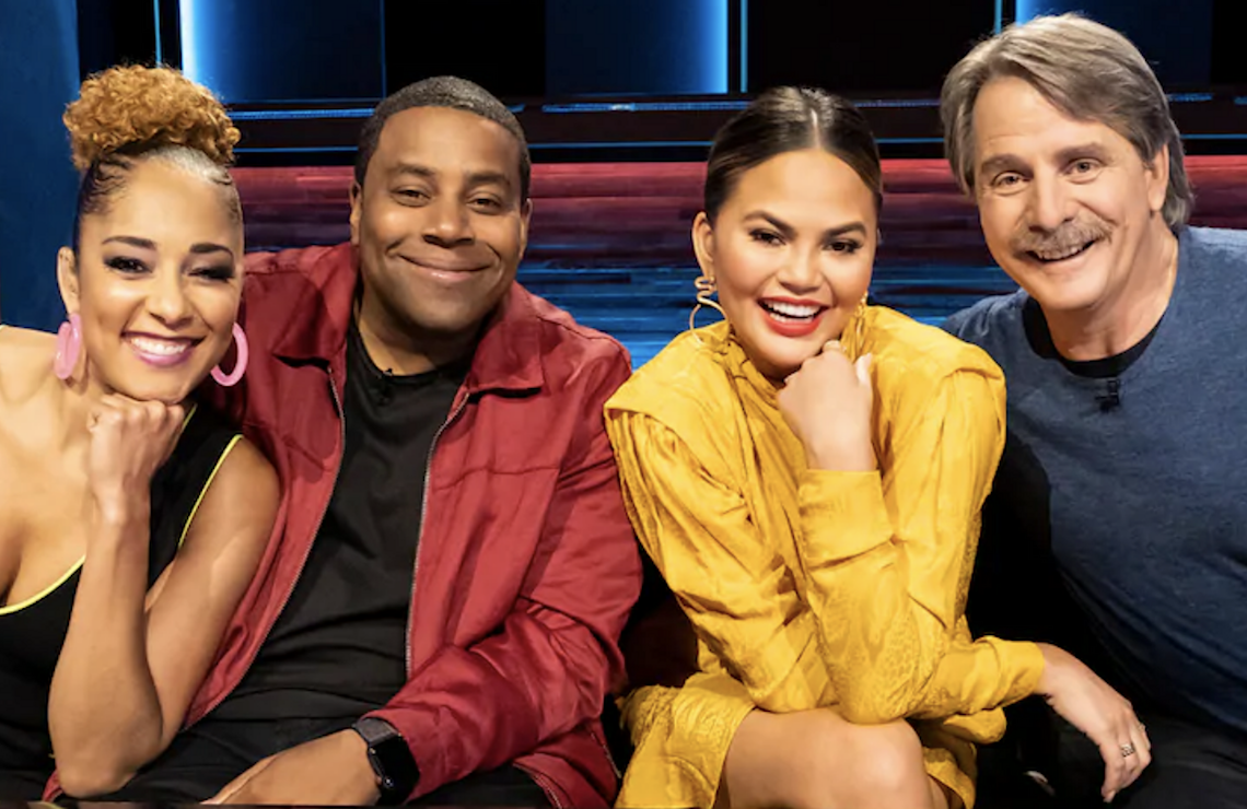 Bring the Funny host Amanda Seales with judges Kenan Thompson, Chrissy Teigen, and Jeff Foxworthy. (Photo: NBC)