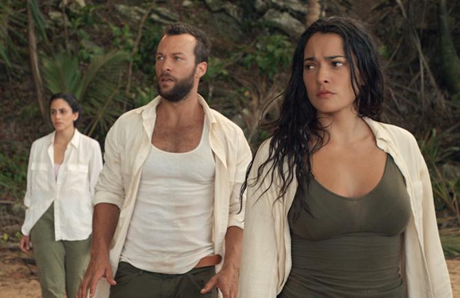 Michelle Veintimilla, Kyle Schmid, and  Natalie Martinez in The I-Land (Netflix)