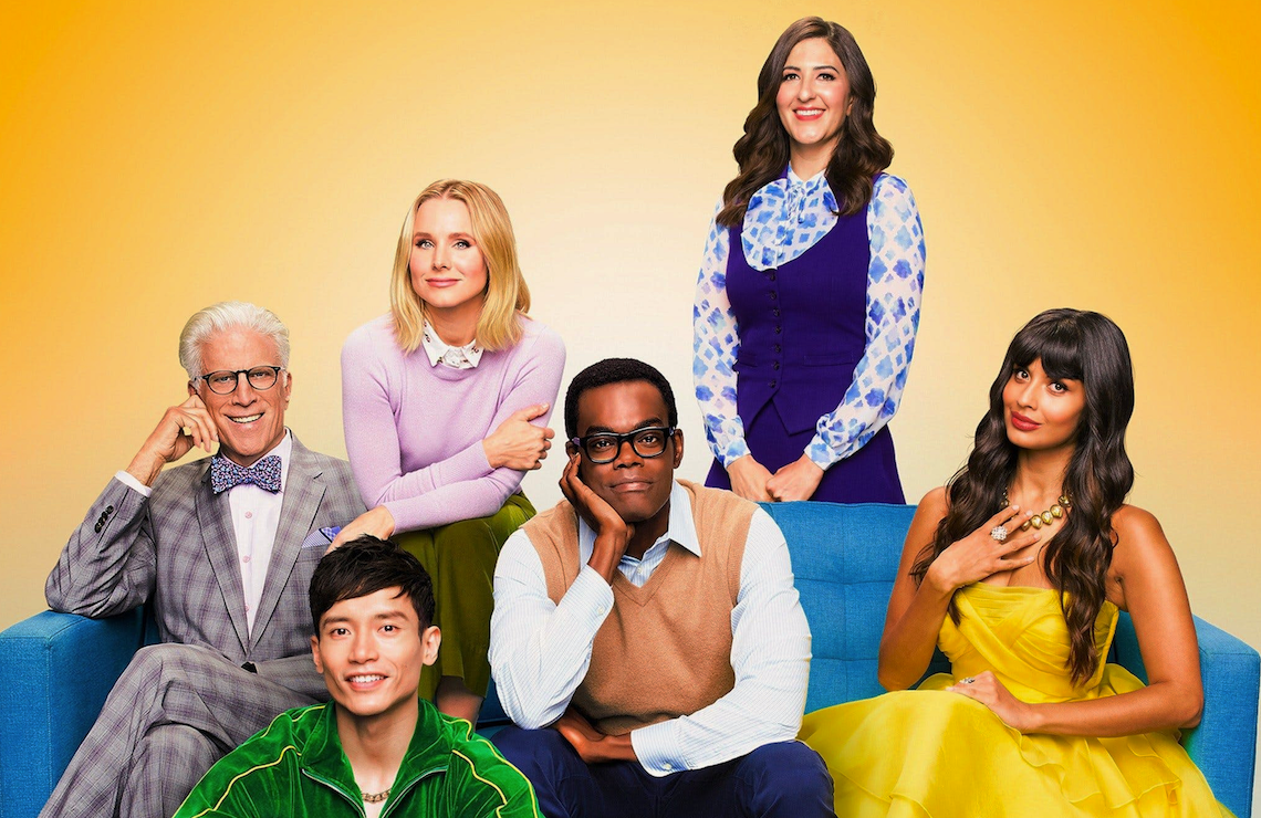 Ted Danson, Manny Jacinto, Kristen Bell, William Jackson Harper, D'Arcy Carden and Jameela Jamil in The Good Place. (Photo by: Andrew Eccles/NBC)