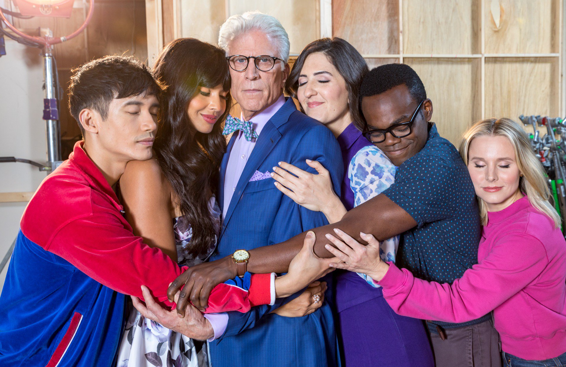 Manny Jacinto, Jameela Jamil, Ted Danson, D'Arcy Carden, William Jackson Harper and Kristen Bell in a promotional image for The Good Place. (Andrew Eccles/NBC)