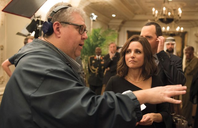 Veep Showrunner David Mandel on set with Julia Louis-Dreyfus and Tony Hale (Photo: HBO)