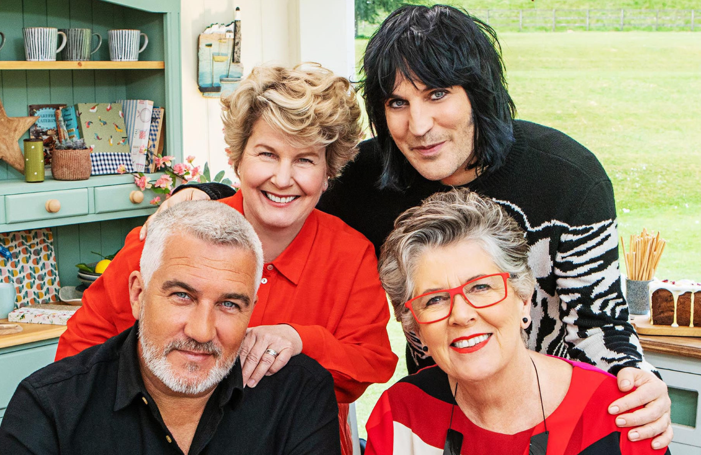Paul Hollywood, Sandi Toksvig Noel Fielding and Prue Leith in The Great British Baking Show. (Channel 4/Netflix)