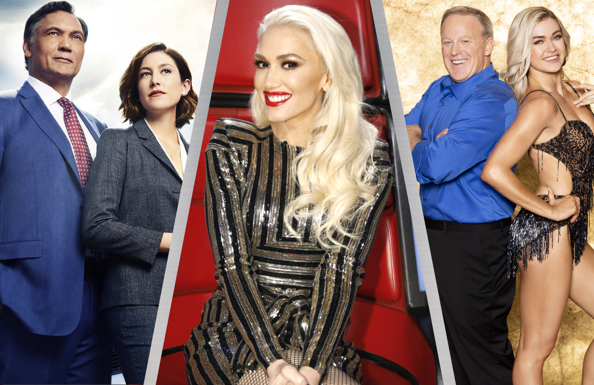 Jimmy Smits and Caitlin McGee in Bluff City Law, Gwen Stefani in The Voice, and Sean Spicer and Lindsay Arnold in Dancing With the Stars (Photos: NBC, ABC)
