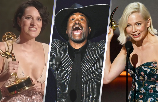 Phoebe Waller-Bridge, Billy Porter and Michelle Williams turned in some of the night's most powerful acceptance speeches. (Photos: Fox)