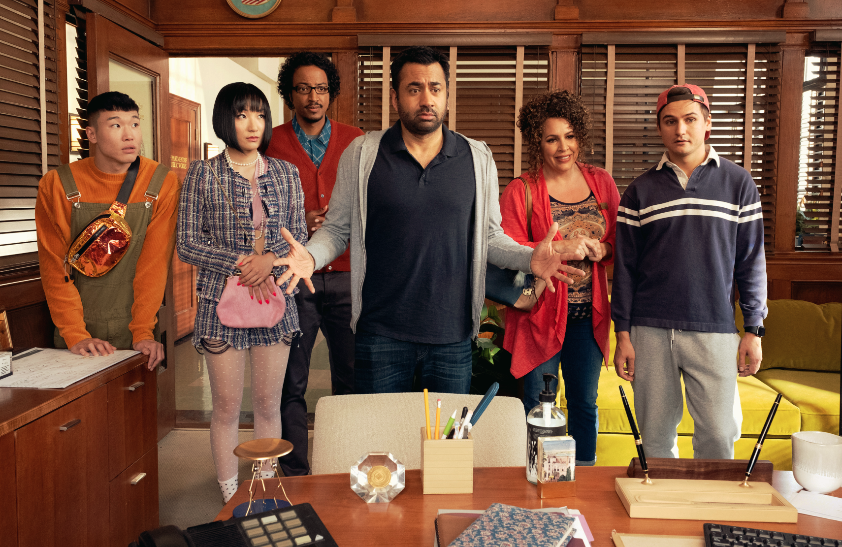 Kal Penn (center) stars in Sunnyside along with Joel Kim Booster, Poppy Liu, Samba Schutte, Diana Marie Riva, and Moses Storm. (Colleen Hayes/NBC)