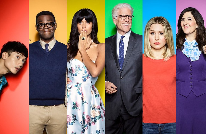 Manny Jacinto, William Jackson Harper, Jameela Jamil, Ted Danson, Kristen Bell and D'Arcy Carden in a promotional image for The Good Place (NBC)