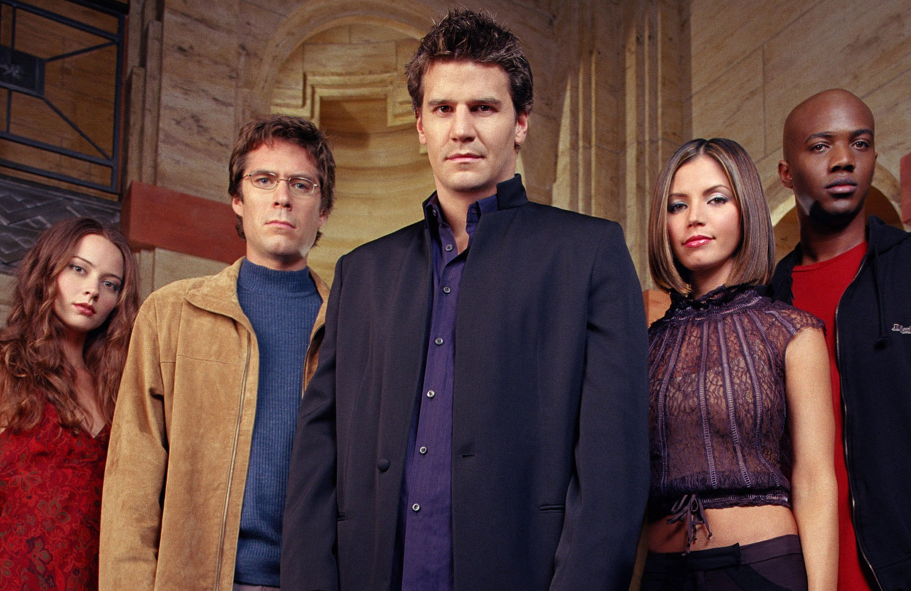 Amy Acker, Alexis Denisof, David Boreanaz, Charisma Carpenter and J. August Richards in a promotional photo for Angel's third season. (20th Century Fox Television)
