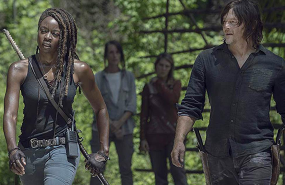 Danai Gurira and Norman Reedus in The Walking Dead (AMC)