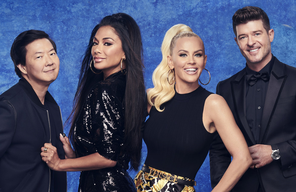 Ken Jeong, Nicole Scherzinger, Jenny McCarthy and Robin Thicke in The Masked Singer (FOX)