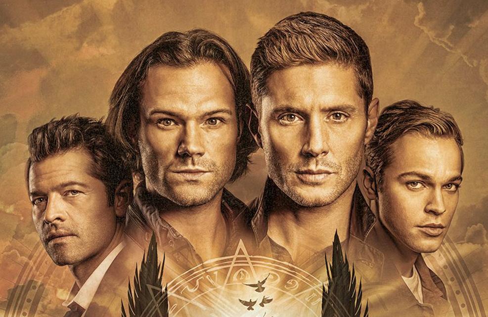 Misha Collins, Jared Padalecki, Jenen Ackles, and Alexander Calvert in Supernatural (The CW)
