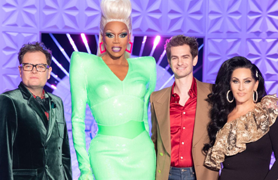 Alan Carr, RuPaul, Andrew Garfield, Michelle Visage (WOW Presents Plus)