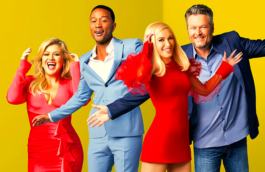 Kelly Clarkson, John Legend, Gwen Stefani, and Blake Shelton in a promotional image for The Voice (NBC)