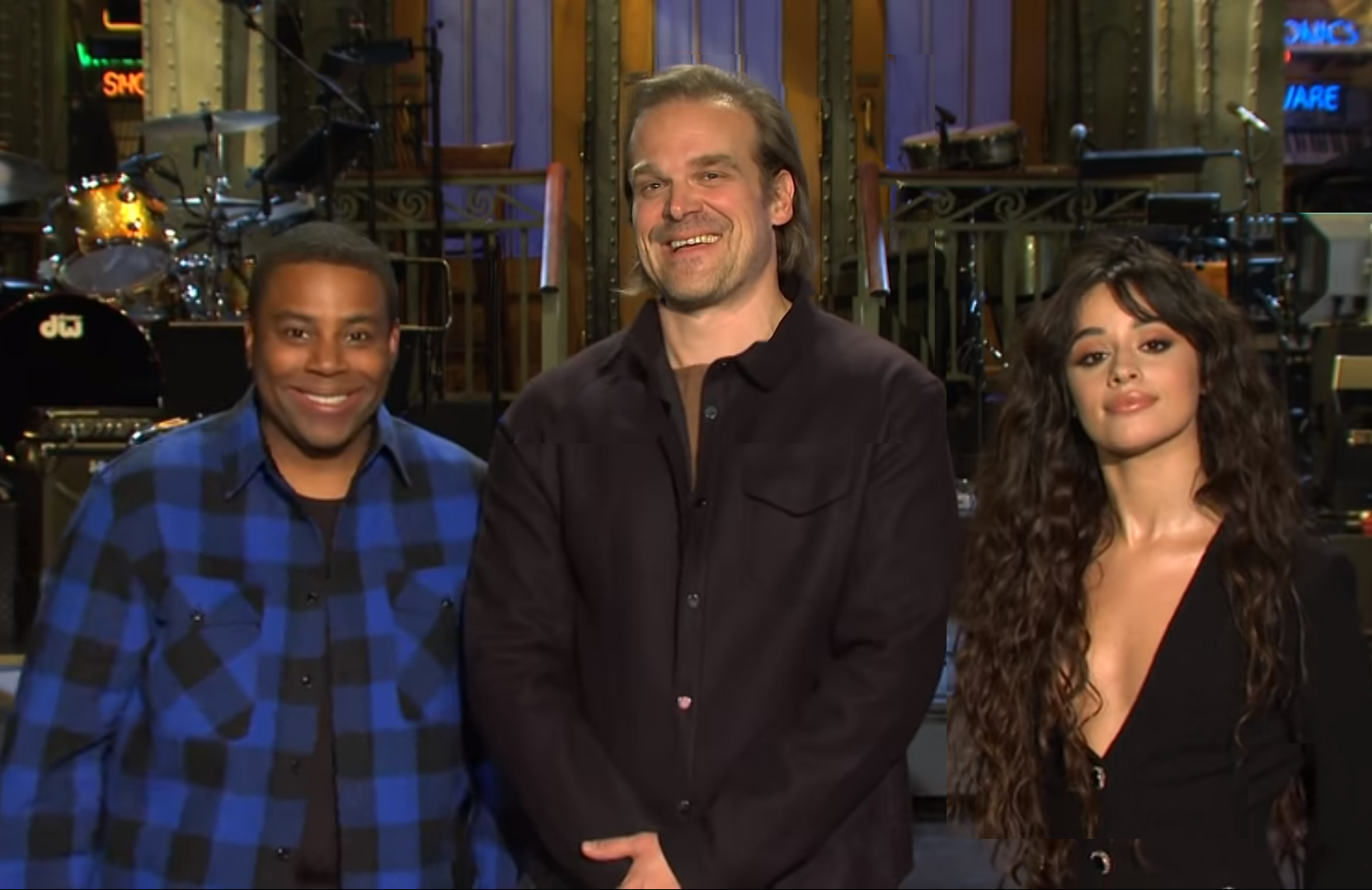 SNL's Kenan Thompson with David Harbour and Camila Cabelo (NBC)