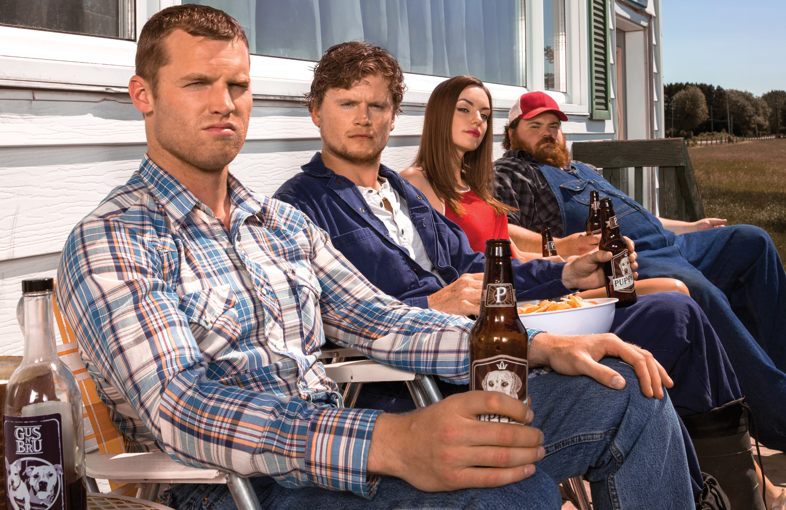 Letterkenny's resident hicks Wayne (Jared Keeso), Daryl (Nathan Dales), Katy (Michelle Mylett) and Dan (K. Trevor Wilson). (Photo: Crave/Hulu)