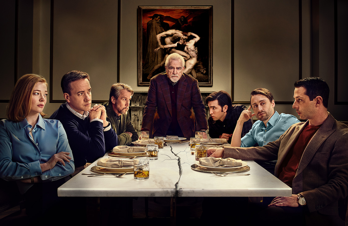 Sarah Snook, Matthew Macfadyen, Alan Ruck, Brian Cox, Nicholas Braun, Kieran Culkin, Jeremy Strong in Succession (HBO)
