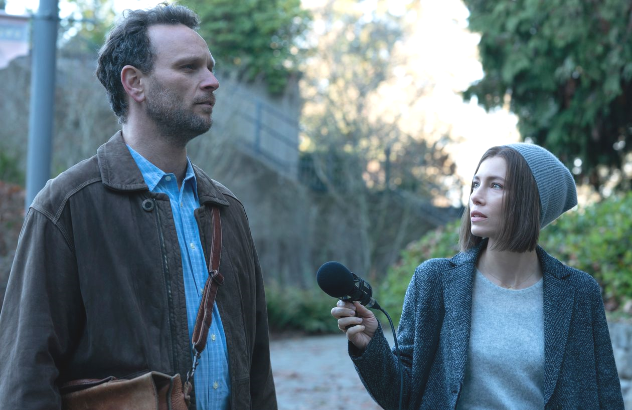 Jessica Biel (with Ben Cotton) in a scene from Limetown. (Photo: Facebook Watch)