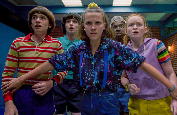 Noah Schnapp, Finn Wolfhard, Millie Bobby Brown, Caleb McLaughlin and Sadie Sink in Stranger Things. (Netflix)