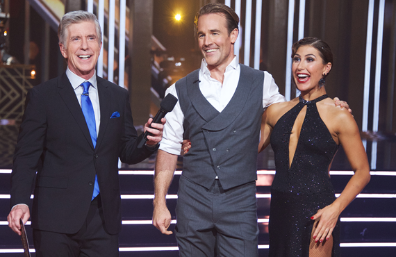 Tom Bergeron, James Van Der Beek and Emma Slater on Dancing with the Stars (ABC)