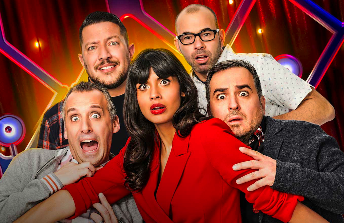 Joe Gatto, Sal Vulcano, Jameela Jamil, James Murray, and Brian Quinn in The Misery Index (TBS)