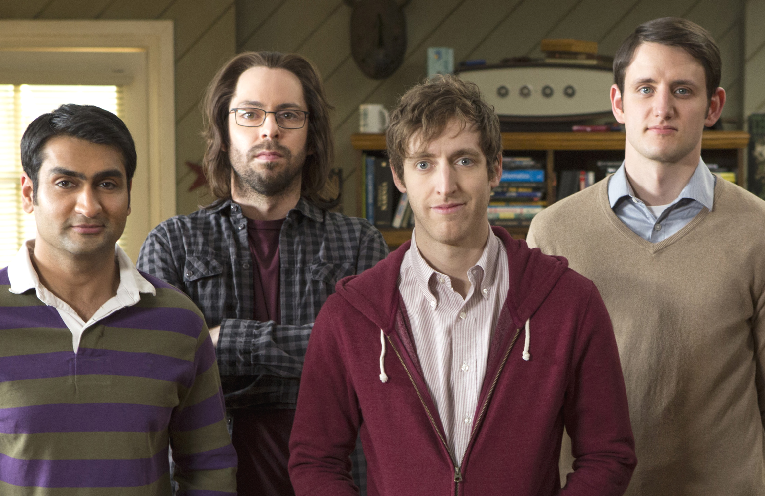 Kumail Nanjiani, Martin Starr, Thomas Middleditch and Zach Woods star in the final season of  HBO's Silicon Valley. (Photo: HBO)