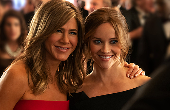 Jennifer Aniston and Reese Witherspoon in a rare moment together in The Morning Show. (Photo: Apple TV+)