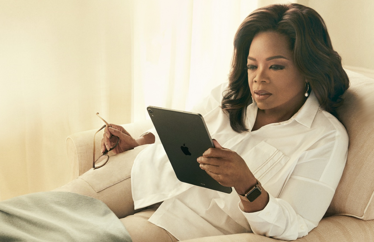 Oprah Winfrey in a promotional image for Oprah's Book Club. (Apple TV+)
