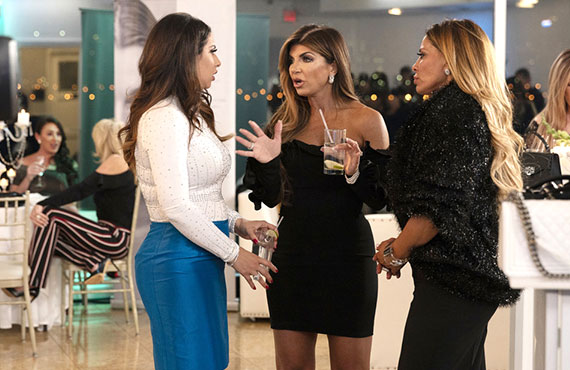 Jennifer Aydin, Teresa Giudice, and Dolores Catania in RHONJM (Photo: Greg Endries/Bravo)