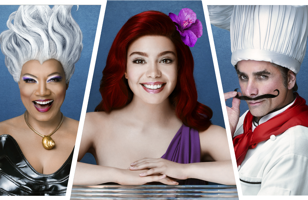 Auliʻi Cravalho, Queen Latifah, and John Stamos are among the stars appearing in The Little Mermaid Live! (Photos: ABC)