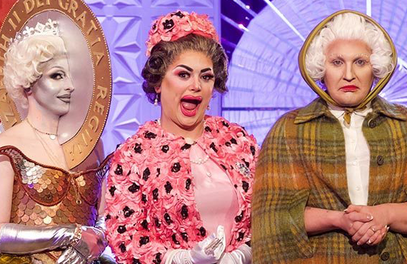 Blu Hydrangea, Baga Chipz, and The Vivienne in RuPaul's Drag Race: UK (BBC/Logo)