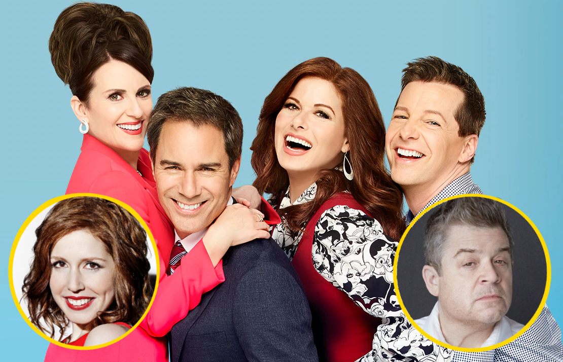 Vanessa Bayer and Patton Oswalt return to Will & Grace in tonight's new episode. (NBC)