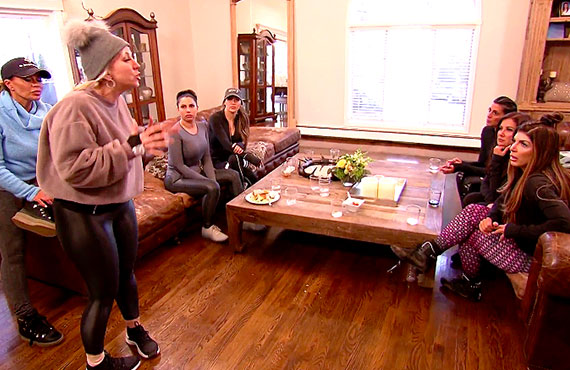 Dolores Catania, Margaret Josephs, Jennifer Aydin, Mellissa Gorga, and Teresa Giudice in RHONJ (Bravo)