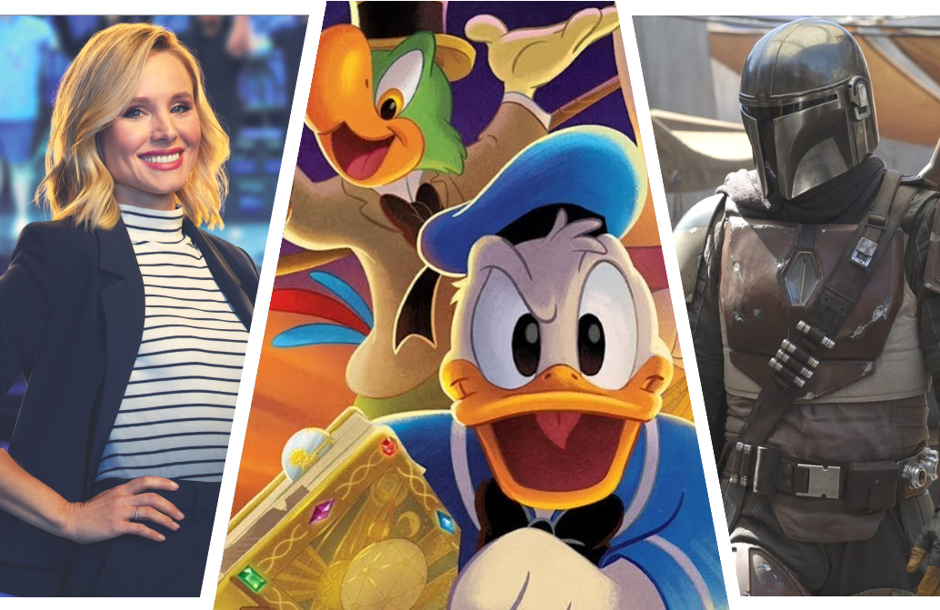 Kristen Bell's Encore, The Legend of the Three Caballeros, and The Mandalorian. (Disney+)