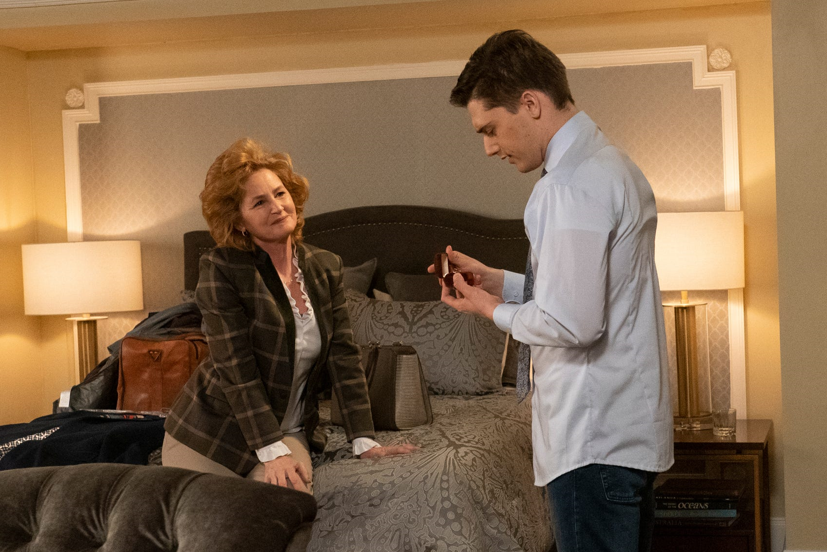 Melissa Leo and Andy Mientus in Dolly Parton's Heartstrings. (Photo: Netflix)