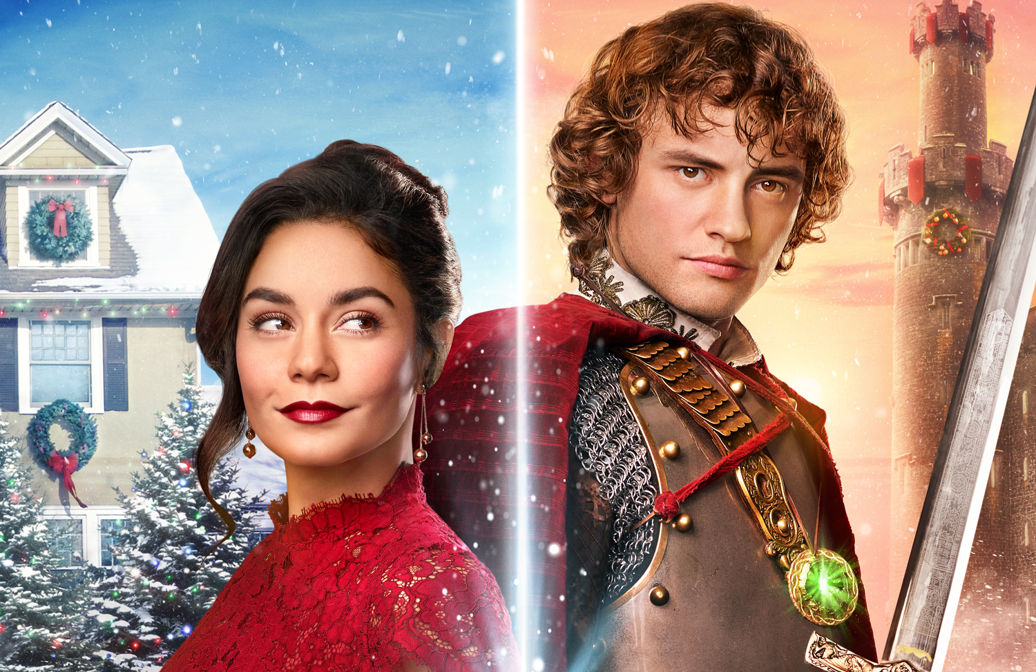 Vanessa Hudgens and Josh Whitehouse in The Knight Before Christmas. (Netflix)