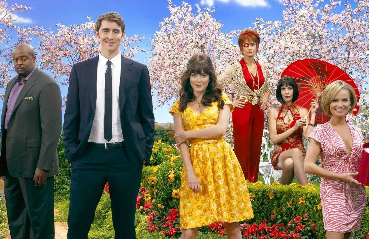Chi McBride, Lee Pace,Anna Friel,  Swoosie Kurtz, Ellen Greene, and Kristin Chenoweth in Pushing Daisies. (ABC)