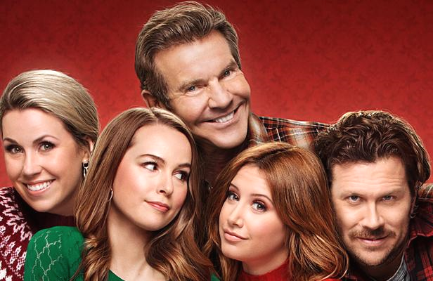Dennis Quaid with Siobhan Murphy, Bridgit Mendler, Ashley Tisdale and Hayes MacArthur in a promotional image for Merry Happy Whatever. (Netflix)