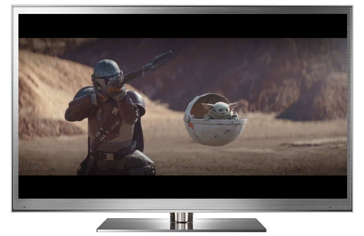 Star Wars: The Mandalorian letterboxed on an HDTV screen.