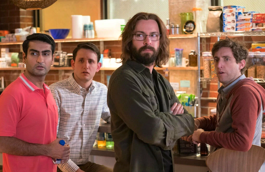 Kumail Nanjiani, Zach Woods, Martin Starr, and Thomas Middleditch star in the series finale of Silicon Valley. (HBO)