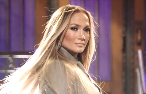 Jennifer Lopez hosts Saturday Night Live with musical guest DaBaby. (NBC)