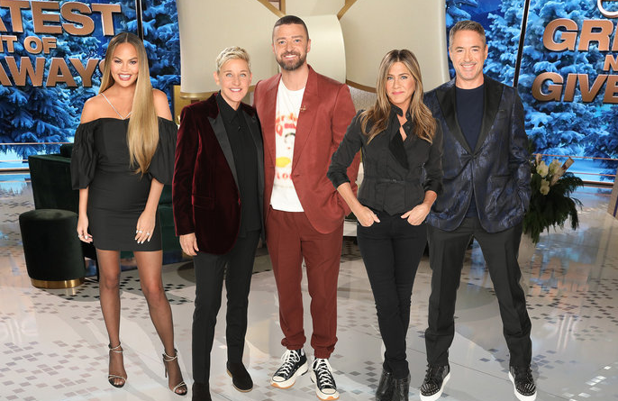 Chrissy Teigen, Justin Timberlake, Jennifer Aniston and Robert Downey Jr. join Ellen DeGeneres in honoring deserving Americans by giving them fabulous prizes in Ellen's Greatest Night of Giveaways. (Photo: Mike Rozman/NBC)